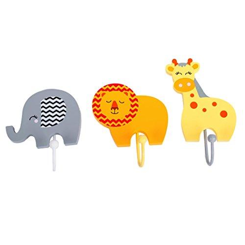 Realizzato artigianalmente in legno animali del safari per bambini appendiabiti by tinkie toys, elefante, leone e giraffe