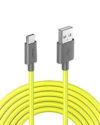 VANKO USB C Ladekabel Neongelb 2.5M für Samsung Galaxy S9, S9+, S8, Huawei P9, Note 8, Nexus 5X/6P, MacBook, Google Chromebook Pixel und alle Anderen Typ C Geräten