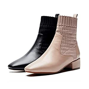 HAOYUSHANGMAO Mid-Heel Booties, weiblich, dick mit Quadrat-Kopf-Farbabstimmung Elastic Stiefel, Damensocken, Fashion Herbst und Winter Damen-Stiefel