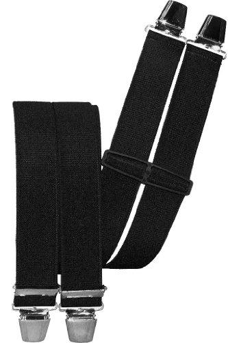 Hosenträger mit 4 extra starken Clips uni Farben, Farben:schwarz
