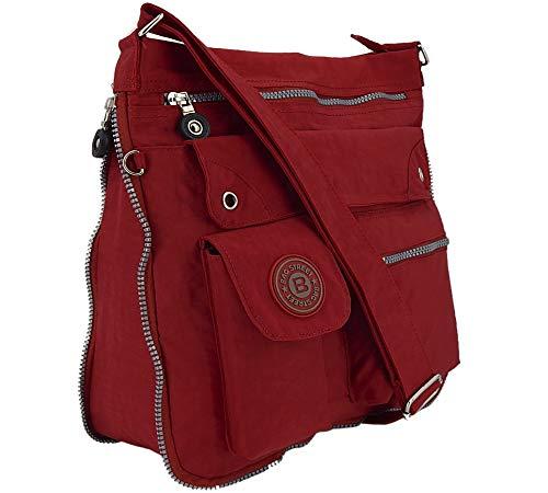 ekavale - leichte Damen-Umhängetasche - Praktische Crossbody-Handtasche - mit vielen fächern - Schultertasche | wasserabweisende Damentasche (Rot) (Umhängetasche Crossbody)