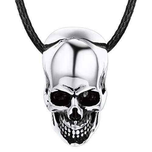 U7 Herren Kette Klassischer Totenkopf Skull Anhänger Halskette Edelstahl Biker Gotik Schädel mit...