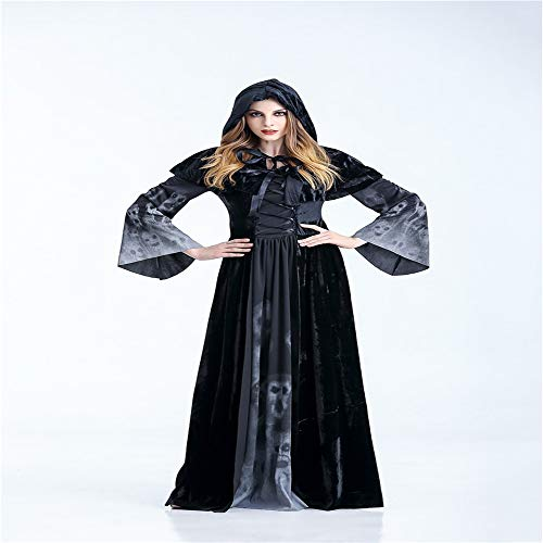 GIFT ZHIZHUXIA Halloween Vampir Kostüm Maskerade Mantel Schwarz Mantel Hexe langes Kleid Erwachsene Weihnachtsfeier Kleid Requisiten (Farbe : Photo Color, größe : ()