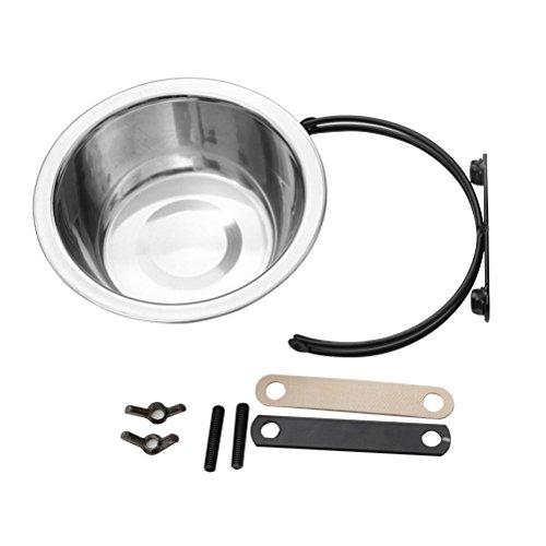 UEETEK Edelstahl Coop Cups Zum Aufhängen Käfig Wasser Fressnapf für Hunde Katzen Welpen, 10,9x 10,9x 6,1cm (L x W x H) -