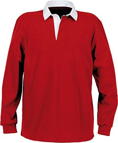 Herren-Rugby-Polohemd Mit Uni Weißem Kragen - 280 g/m² - Herren Red