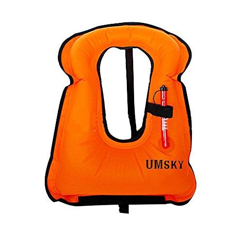 Tuba pour adulte Gilet, Umsky gonflable sur toile Life Jacket flottabilité plongée avec tuba Natation flottant Gilet de sécurité pour la plongée, Orange