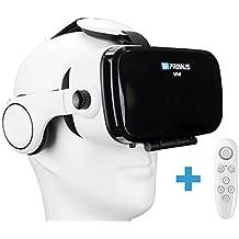 VR-PRIMUS VA4 + control remoto | VR gafas de realidad virtual con auriculares | Para smartphones Android e iOS como iPhone,Samsung,HTC,Sony,LG,Huawei | También para Google Cardboard Apps | (blanco)