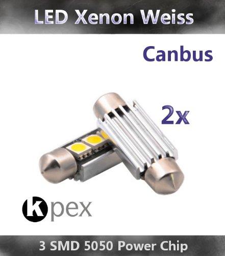 KPEX 2x CANBUS LED 3 SMD Soffite 36mm C5W Kennzeichen Lampe XENON WEIß. Ohne STVZO Zulassung