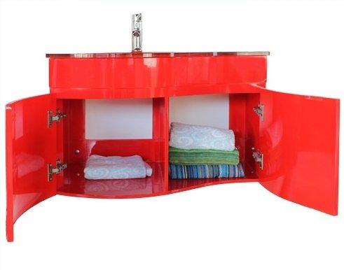 mobile arredo bagno sospeso con lavabo cristallo rosso arancione ... - Arredo Bagno Arancione