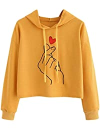 K-youth sudadera mujer, Chic Impresión Mujer Sudaderas con Capucha Manga Larga Sudaderas Tumblr Mujer Adolescente Deportiva Sweatshirt Blusa Tops Blanca