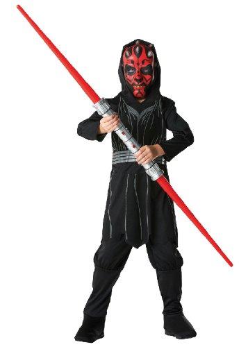 Maul Darth Kostüm Maske (Star Wars Kinder Kostüm Darth Maul mit Maske und Lichtschwert)