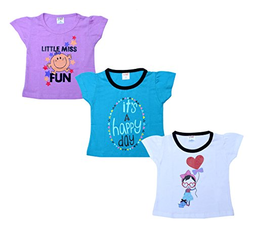 Little Stars Baby-Girls' Tees - Pack of 3 (PO3IGT_017_L, Multi-Coloured, 12-18 Months)