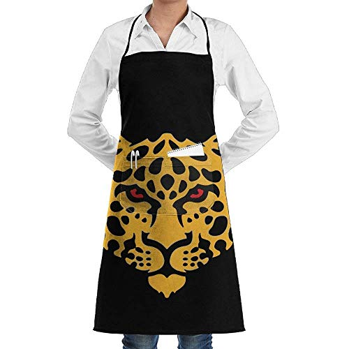 tgyew Unisex Chef's Aprons Deluxe Golden Leopard Head Logo Professional Grade Chef Apron for Kitchen, BBQ