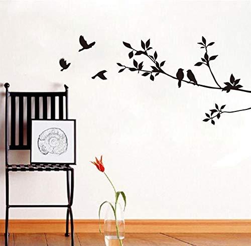 Xlei adesivi murali fai da te uccelli su rami di albero adesivo da parete in vinile impermeabile rimovibile decorazione della casa arredamento camera da letto wall art uccello classico adesivo