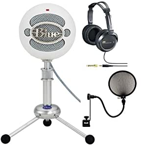 Blue Microphones Snowball USB Microphone (Textured White) with Full Size Studio Headphones and Pop Filter Portable Consumer Electronic Gadget Shop