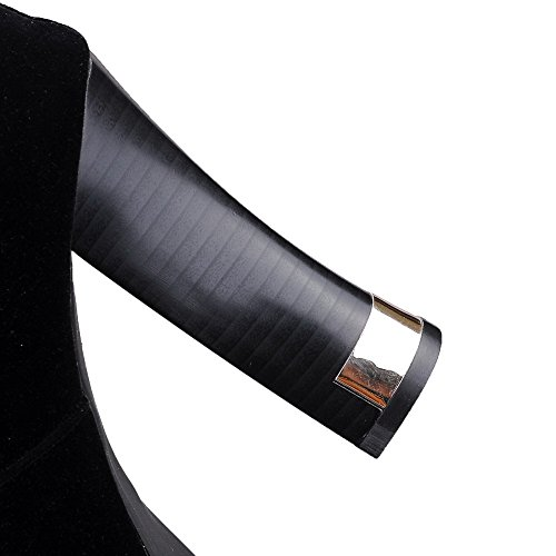 VogueZone009 Donna Media Altezza Puro Tirare Tacco Alto Stivali con Studded Strass Nero