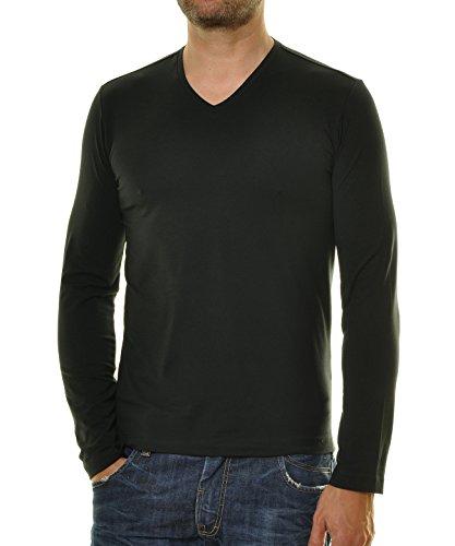 RAGMAN Herren Langarm Shirt mit V-Ausschnitt, Body Fit Schwarz-009