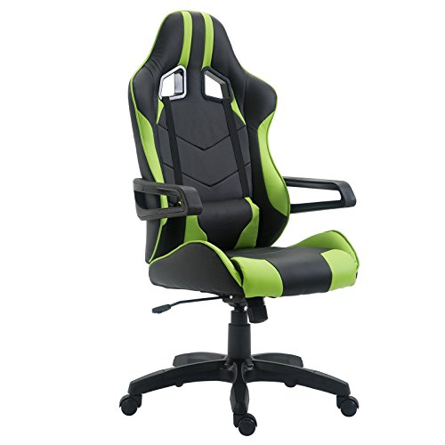 CARO-Möbel Gaming Drehstuhl Play Lederimitat in schwarz/grün Bürostuhl PC Schreibtischstuhl Chefsessel Racer, höhenverstellbar Wippmechanik