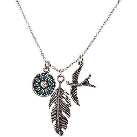 Lux accessori turchese tribale metallo foglia Uccello Colomba Ciondolo Collana