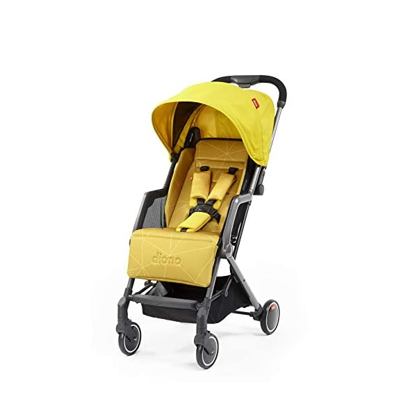 Diono Traverze Compact Luggage-Style Stroller, Yellow Sulphur Diono Luggage Style Stroller: Suitable from birth up to 20 kg the Diono Traverse is the original luggage style stroller to make family travel easy Ultra Lightweight: Only 5.6 kg to help you glide through the world, with neat pull along handle just like your luggage Super Compact Fold = Airplane Friendly: True one hand fold makes traverse super compact to fit most overhead bins 1