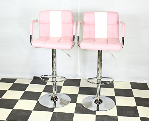 Just-Americana.com American Diner Furniture 50s Style Retro Bar/stools Chairs Armrest Pink x 2
