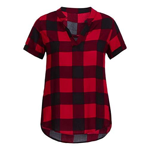 Neuer Ankunfts-Frauen Shirts Plaid gedruckte Kurze Hülse V-Ansatz unregelmäßige Rand Bluse Damen Blusen, Rot, XL