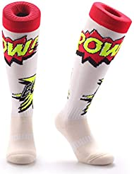 Samson Hosiery® cómic Pow! Calcetines para hombre mujer niños unisex impresión funky fashion para fútbol rugby deporte y el día a día, calcetines altos por la rodilla