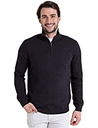 WoolOvers Pull à encolure zippée - Homme - Cachemire & coton Charcoal, XL