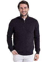 WoolOvers Pull à encolure zippée - Homme - Cachemire & coton Charcoal, M