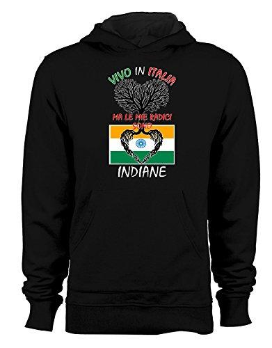 Felpa con cappuccio Vivo in Italia ma le mie radici sono indiane- Italy - India - humor - idea regalo - in cotone Nero