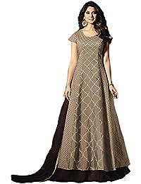 Kings Fashion Bazaar Women's Silk Semi Stitch Salwar Suit (K_Fashion_ER11263_Brown_Free Size)
