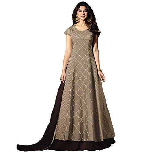 Ethnic Empire Women's Silk Semi Stitch Salwar Suit (Ethnic_ER11263_Brown_Free Size)