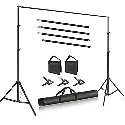 Neewer Système de Support de Fond Photo Studio Réglable avec 3 Pinces pour Toile de Fond, 2 Sacs de Sable et Sac de Transport pour Portrait Photo Studio Vidéo