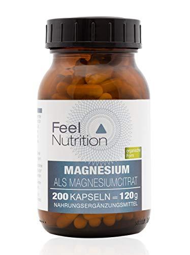 Magnesium als Magnesiumcitrat - IM GLAS, OHNE WEICHMACHER - Pro Kapsel 500 mg Magnesiumcitrat, davon 79 mg ELEMENTARES Magnesium - vegan - In der organischen Form als Magnesiumcitrat - 200 Kapseln