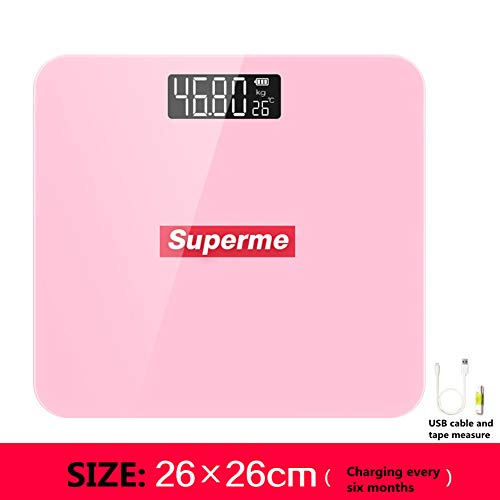 LEEEC Body Wighing Bathroom Scales Hohe Härte High Precision Measuring Backlit LCD Display Elektronische Skala (Free Porto),Pink