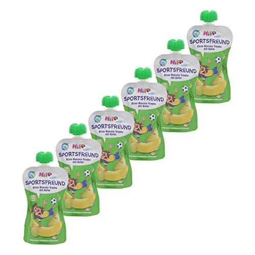 HiPP  Sportsfreund Quetschbeutel (Birne-Banane-Traube mit Hafer, 100{bab84c4555366e1b1b26b99dab05e597b7db8a78022a63cf183bb090165ea873} Bio-Früchte ohne Zuckerzusatz) 6 x 120 g Beutel