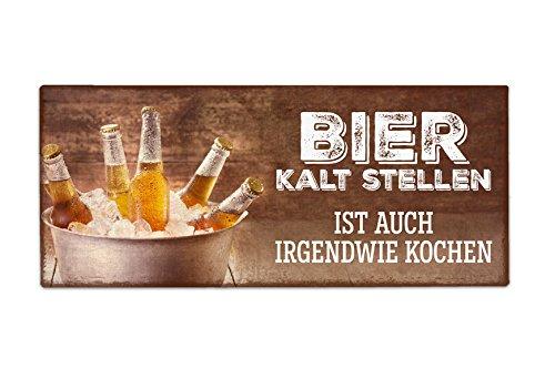 La Vida Deko Schild Blechschild Blechtafel Metallschild Retro Spruch Bier kalt 30,5x13cm