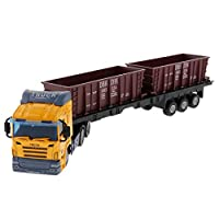 B Blesiya 1:48 Diecast Car Toy Engineering Car Carrier Transport Trucks Transport Trailer Model Home Decor Yellow