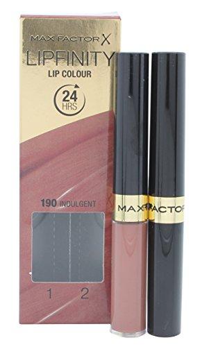 Max Factor Lipfinity Lip Colour Indulgent 190 - Kussechter Lippenstift mit 24h Halt ohne auszutrocknen, intensiver Farbabgabe & präzisem Applikator - mit intensiv pflegendem Gloss-Top Coat -