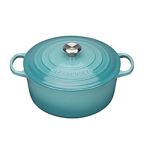Le Creuset 21177221702430 Signature Cocotte Rond Fonte Bleu Caraïbe 22 cm