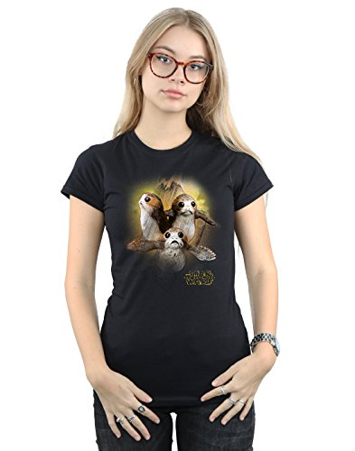 Star Wars Damen The Last Jedi Porgs Brushed T-Shirt Medium Schwarz - Nähmaschine Lycra Für