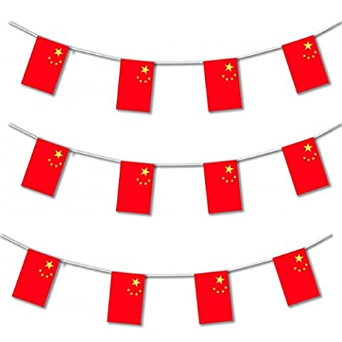 My Planet 24 x China Chinese Premium Quality Flag Bunting Huge 10m Party Decoration Banner