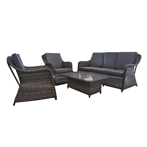 Gartenmöbel Garten-Lounge Loungegruppe mit Tisch und Kissen Polyrattan mocca