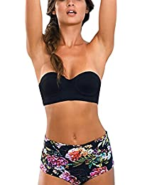 iBaste Bañador Mujer Retro Alta Cintura de Impresión Bikini Triángulo Swimsuit Split Bikinis