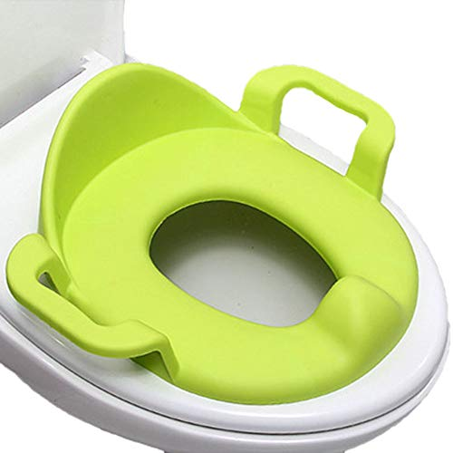 Baby WC Klobrille, Justierbarer Rutschfeste Toiletten-Trainer Potty Sitz, Kinder Toilettensitz Bettpfanne for Quadratischer Runde ovalen,Green