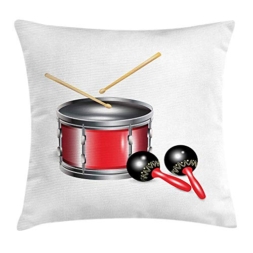 Maracas Throw Pillow Cushion Cover, Drums with Sticks Cuban Rhythm Latin Carnival Festive Party Culture Print, Decorative Square Accent Pillow Case, 18 X 18 inches, Silver Red Black