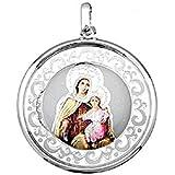 EMPATHY JEWELS Medalla Virgen del Carmen de Plata de Ley de 35 mm. Colgante Virgen del Carmen con Esmalte una Joya para Siemp