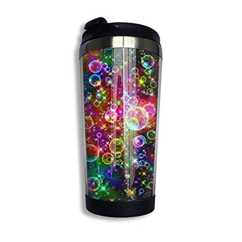 Travel Coffee Mug Colorful Sparkle Bubbles Sports Water Bottle Coffee Cup with Lid