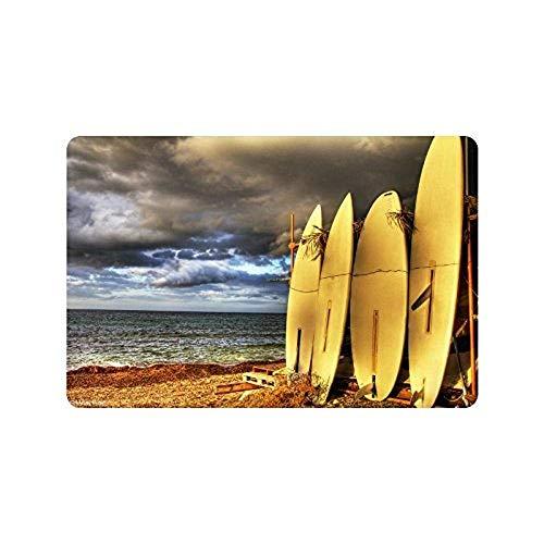 HujuTM 23.6(L) x 15.7 Surfboard on The Beach Sea Ocean, Indoor/Outdoor Floor Mat