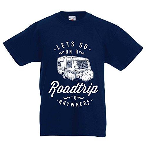 Kinder Jungen/Mädchen T-Shirt Autoreise nach Anywhere, Perfekter Familienurlaub, Liebe Camping - Wild, Wald, Strandurlaub (3-4 Years Dunkelblau Mehrfarben)